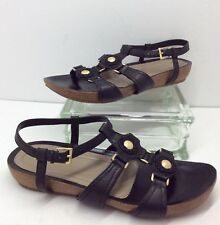 """Easy Spirit """"Virtue"""" Black Leather Sandals With Gold/Beaded Accents Women's 10 M"""