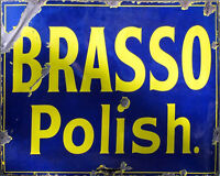Brasso Polish Blue Yellow VINTAGE ADVERTISING ENAMEL METAL TIN SIGN WALL PLAQUE