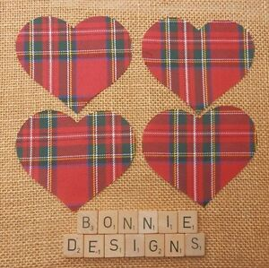 TARTAN Fabric HEARTS Die Cuts Christmas Appliqués Quilting Hand Sew Polyester