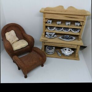 Dolls House Bundle Raine Chair with Ottoman + Wooden Cabinet + Tableware