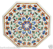 "30"" Marble Coffee Center Table Top Marquetry Inlay Rare Mosaic Style Decor H2379"