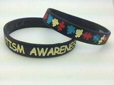 BLACK Autism Awareness Puzzle Pieces Wristband ADULT Silicone Fundraising walk