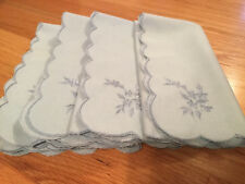 A set of 4 blue napkins, 17 x 17 inches, 100% polyester, with the embroidery