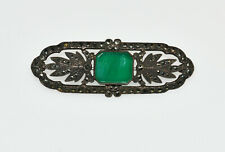 VINTAGE STERLING SILVER MARQUISITE  BROOCH WITH GREEN STONE