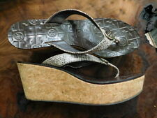 03d8e1f4f52297 TORY BURCH brown   tan snake LEATHER gold emblem CORK HEELS SANDALS  flipflop 9.5