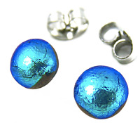 "Tiny DICHROIC Post EARRINGS 1/4"" 7mm Teal Turquoise BLUE Fused GLASS STUDS Dots"