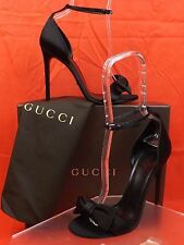NIB GUCCI BLACK SATIN  BOW  ANKLE STRAP LOGO  SANDALS PUMPS 38 8  #370440 $795