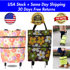 Foldable Portable Shopping Storage Bags Trolley Tote Food Grocery Cart On Wheels