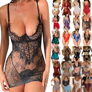 Women Erotic Lingerie Lace Sheer Dress Babydoll Bodysuit Bra Thong Set Underwear
