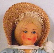 Vintage Doll in Blue Gown & Straw Bonnet Plastic Adorable