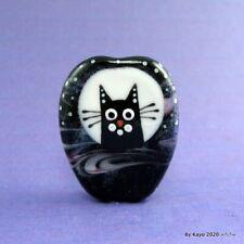 """MAN IN THE MOON"" a handmade lampwork glass CAT pendant focal bead byKayo SRA"