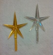 Large Clear & Gold Iridescent Aurora Star Vintage Ceramic Christmas Tree Topper