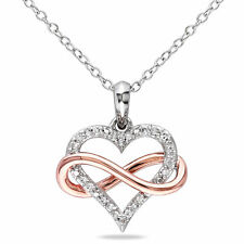 Sterling Silver 1/10 ct TDW Diamond Infinity Heart Pendant H-I I2-I3