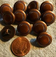 "12 Domed Antiqued Copper Tone Plastic Shank Buttons Almost 5/8"" 15mm # 4877"