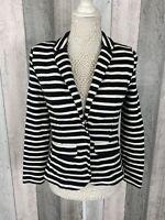 Whistles Navy Nautical Striped 100% Cotton Thick Blazer Size UK 6