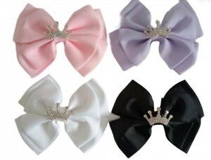 Princess Diamante Crown Hair Bow Clip or Brooch Pin Birthday UK Seller 🇬🇧