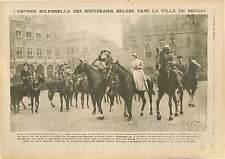 Roi Albert Ier de Belgique Reine Elisabeth Bruges Brugge/Gare  Vouziers 1918 WWI