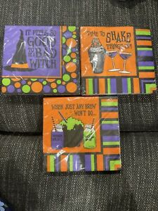 3pk Of 16 HALLOWEEN Printed Cocktail Beverage BAD WITCH Shake things up ANY BREW