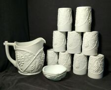 Vintage Duncan and Miller Grape Pattern Milk Glass pitcher, 9 glasses,small bowl