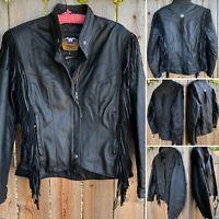 Harley Davidson Black Leather Jacket Fringe Mirage Made In USA Moto Biker M
