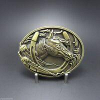 Antique Bronze Plated Western Horse Horseshoe Belt Buckle