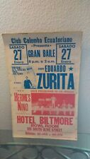 Biltmore Hotel Rare Concert Poster, Latin, Hermes Nino & His Columbian Boys +