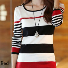Women's Blouse T-shirts Shirt Tops Tee Long Sleeve Slim Striped Pullover Q1 Red S