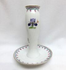 Vintage Porcelain Hatpin Holder Display ~ Teal & Pink Scroll ~ Never Used