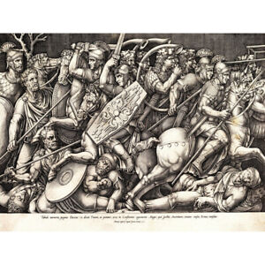 Beatrizet Roman Soldiers Fighting Dacians Engraving Canvas Wall Art Print Poster