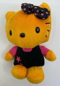 "2010 Sanrio Hello Kitty 5"" Plush Doll Orange Black Pink Dots Stars"