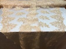 Lace Fabric - Embroidered Sequin Mesh Flower For Wedding Dress By The Yard Beige