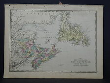 Antique Map, 1875 Newfoundland, New Brunswick, Nova Scotia, Prince Edward Island