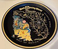 VINTAGE Walt Disney World Florida BLACK METAL SOUVENIR TRAY Mickey Mouse Pooh
