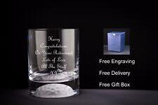 Vaso de Whisky Personalizado, con la pelota de golf inferior, jubilación/Dejando Regalo