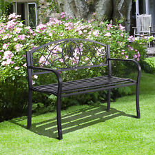 Outsunny Gartenbank 2-Sitzer Sitzbank Metallbank Bank Gartenmöbel mit Armlehne