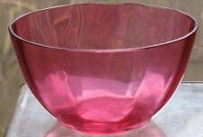 "ANTIQUE VICTORIAN ART GLASS CRANBERRY OVERLAY FINGER BOWL CA 1900 2 5/8""H"
