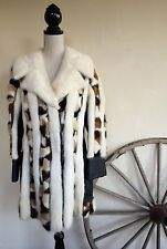 Vtg 60-70's SWITZER's Brown Cream Mixed Mink Leather Lined Boho Hippie Coat M L