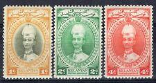KELANTAN MALAYA 1937/40 STAMP Sc. # 29/31 MNH
