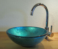 Kleines Aufsatz Glas Waschbecken Waschschale Waschtisch blau 31cm rund Gäste-WC