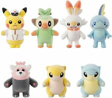 Bandai Pokemon Poke Mofu Doll 5 Complete 7 kinds set Flocked Plush Doll toy NEW