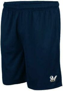 Milwaukee Brewers Majestic Embroidered Logo Synthetic Shorts Navy Blue Big Sizes