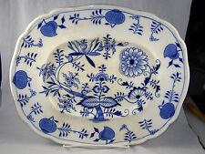 "Antique Brown Westhead & Moore MEISSEN Blue Onion 11-1/2"" x 14"" Platter"