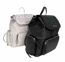 Michael Kors Bags Abbey Vegan Faux Leather Backpack Optic White Black 35S0SAYB3J