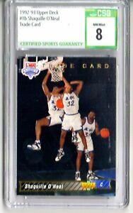 Shaquille O'Neal 1992-93 Upper Deck #1b SP Trade Card Magic Rookie CSG 8 NM/Mint