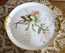 """Vintage CFH GDM LIMOGES France Pink Flowers w/Gold Serving 9 3/4"""" Plate Platter"""