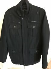 GUESS Men's Black Wool Blend Coat Small Damaged Zipper & Hoodie Missing