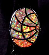 """Sterling 925 Silver SF Size 8 Ring Orange Lab Fire Opal  ABSTRACT 7/8"""" X 5/8"""""""