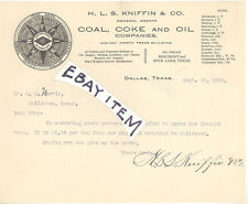 1903 Dallas Texas HLS KNIFFIN Coal Coke OIL Wells Beaumont Sour Lake TX MINING
