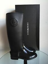 AUTHENTIC EMPORIO ARMANI BLACK RUBBER RAIN BOOTS LOGO 39 9