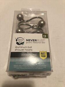 Zenna Home Never Rust Aluminum Ball Shower Hooks Sarin Nickel